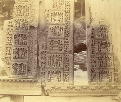 Buddhist sculptures excavated at Lorian Tangai, Peshawar District: three sculptured jambs from sides of recess-niches of stupa